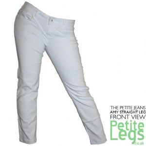 Amy White Slim Straight Leg Jeans | UK Size 10-12 | Petite Inseam Select: 24.5, 26.5, 28.5 inches